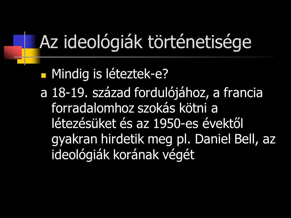 Az ideológiák történetisége Mindig is léteztek-e. a 18-19.