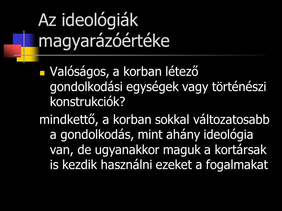 Az ideológiák megjelenésének alapfeltételei Reinhardt Koselleck és munkatársainak elmélete: - 1750-1850 között nagy átrendeződés a társadalomról és politikáról való gondolkodásban (ún.