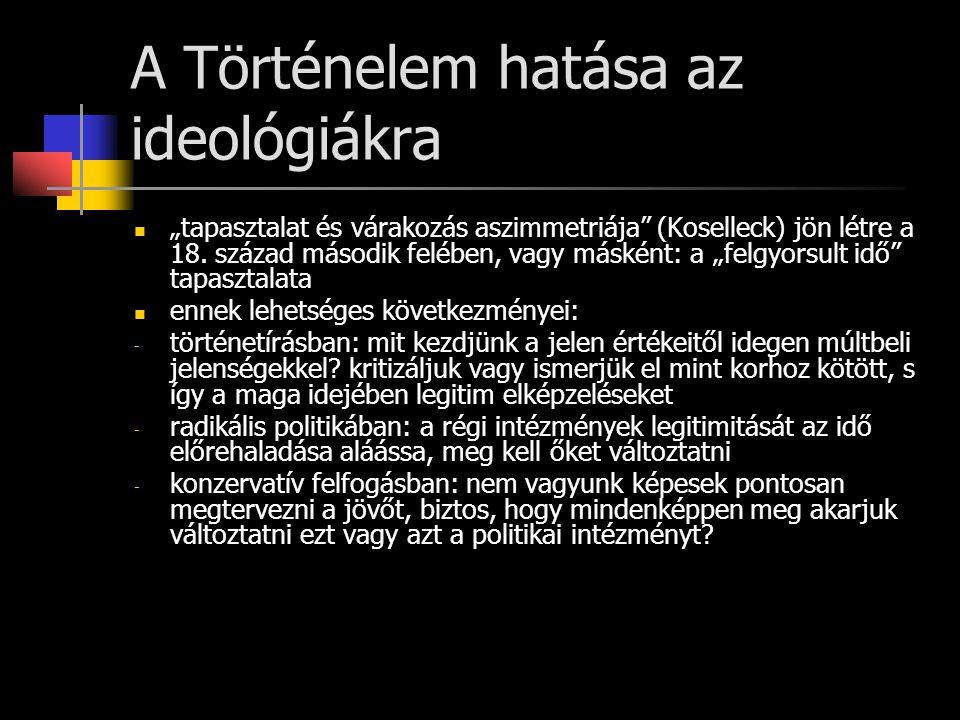 """Az ideológiák magyarországi megjelenésének történeti háttere 1825/27-es országgyűlés elhatározása: vegyék elő újra az 1790-es évek eleji rendszeres bizottsági munkálatokat 1830: vármegyei előkészületek, viták során kikristályosodik egy fiatalabb politikusnemzedék álláspontja: újra kell gondolni a régi reformjavaslatokat, mert """"elavultak 1831: kolerafelkelés: a jobbágykérdés rendezésének szükségessége 1831-1848: reformkor, háromévenkénti országgyűlések, országos sajtó (pl."""