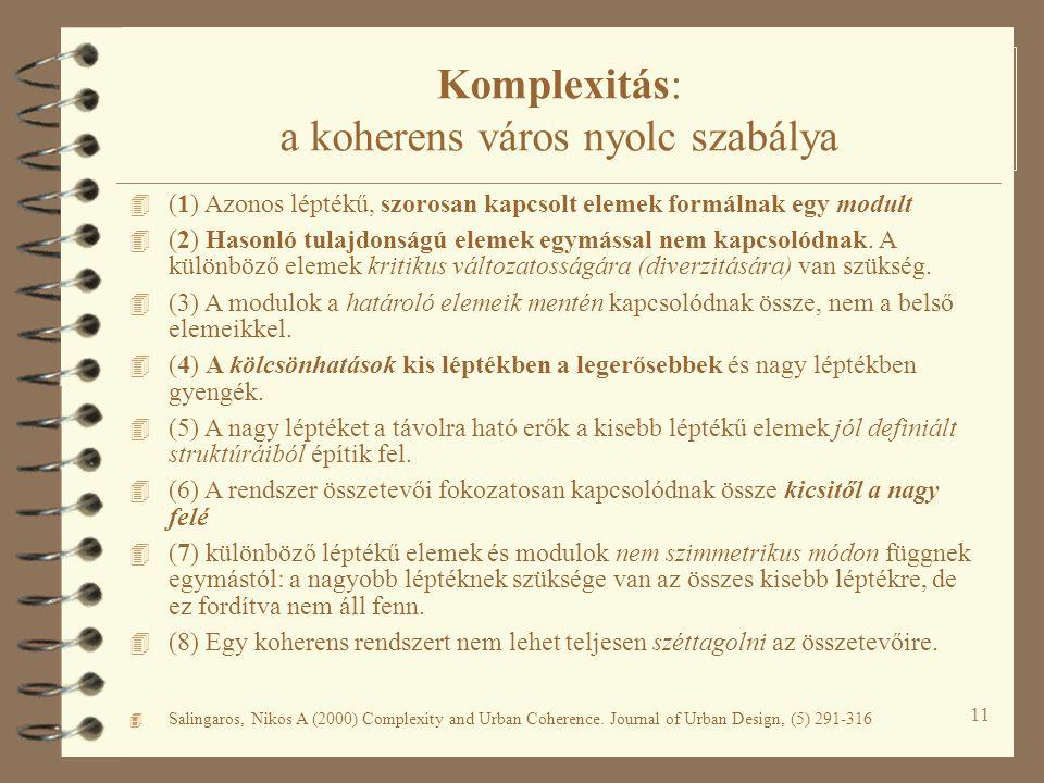 11 Komplexitás: a koherens város nyolc szabálya 4 (1) Azonos léptékű, szorosan kapcsolt elemek formálnak egy modult 4 (2) Hasonló tulajdonságú elemek egymással nem kapcsolódnak.