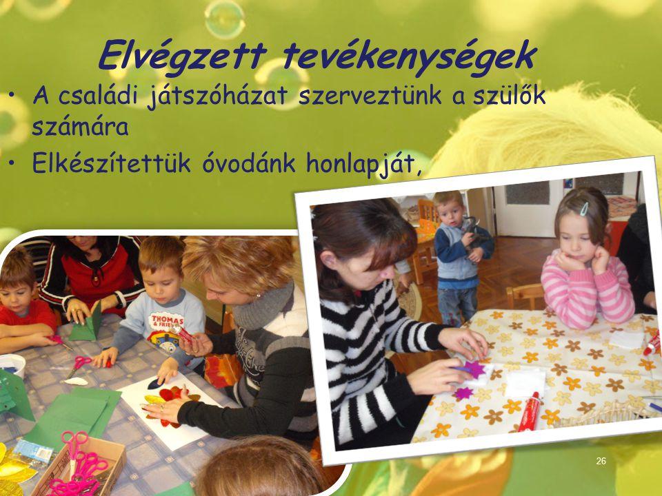 Elvégzett tevékenységek A családi játszóházat szerveztünk a szülők számára Elkészítettük óvodánk honlapját, 26