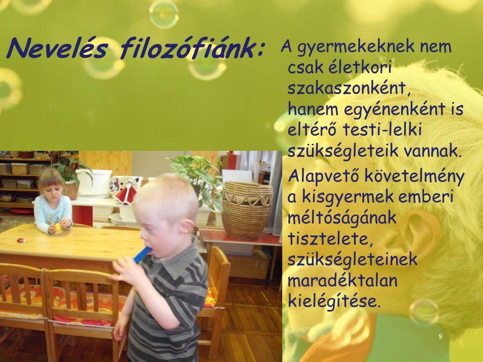 Nevelés filozófiánk: A gyermekeknek nem csak életkori szakaszonként, hanem egyénenként is eltérő testi-lelki szükségleteik vannak.