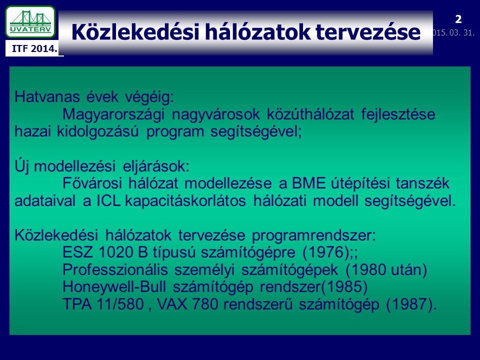 ITF 2014. 2015. 03. 31. 2 Közlekedési hálózatok tervezése Hatvanas évek végéig: Magyarországi nagyvárosok közúthálózat fejlesztése hazai kidolgozású p