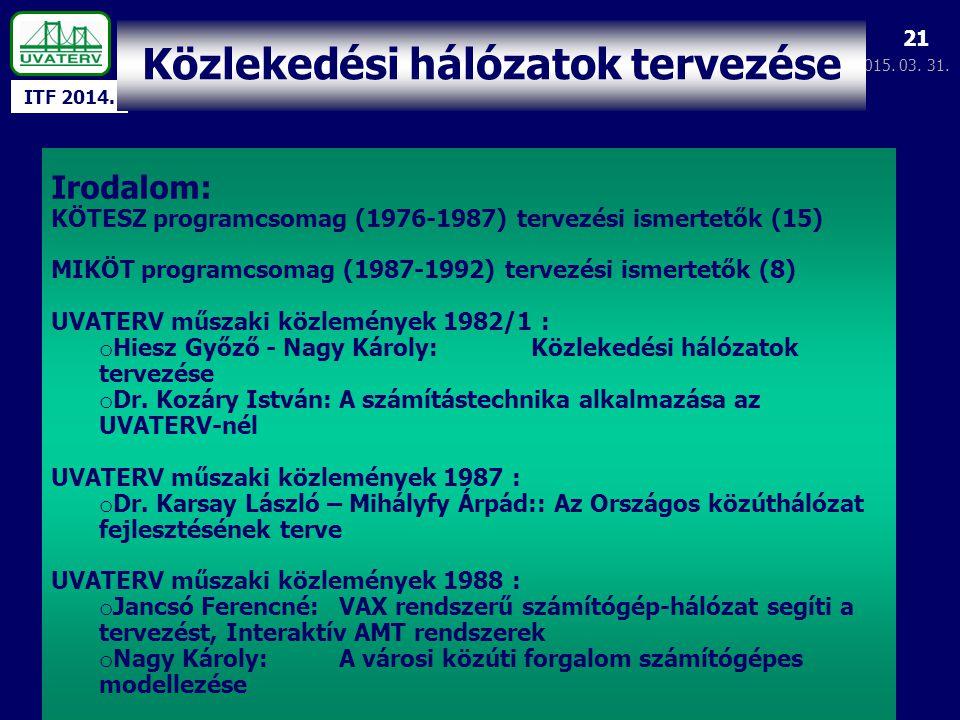 ITF 2014. 2015. 03. 31. 21 Irodalom: KÖTESZ programcsomag (1976-1987) tervezési ismertetők (15) MIKÖT programcsomag (1987-1992) tervezési ismertetők (