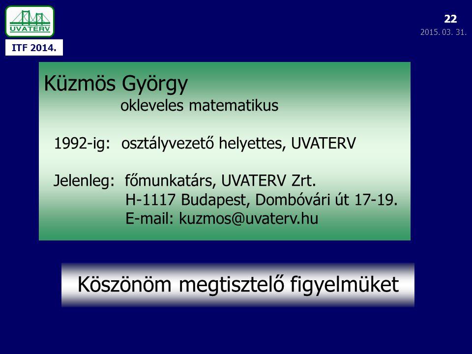 ITF 2014. 2015. 03. 31. 22 Köszönöm megtisztelő figyelmüket Küzmös György okleveles matematikus 1992-ig: osztályvezető helyettes, UVATERV Jelenleg: fő