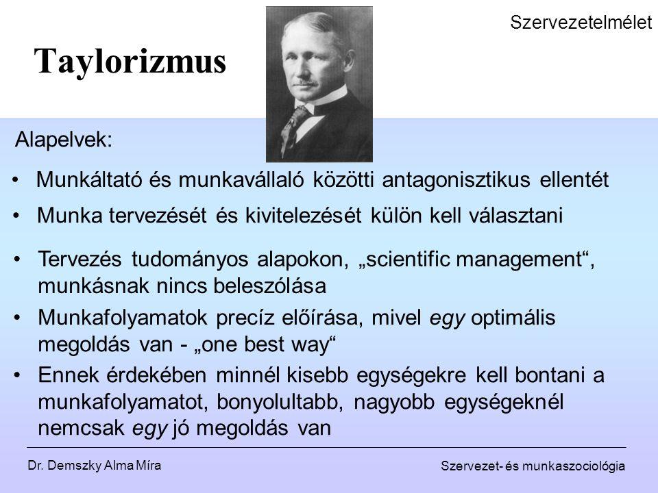"""Dr. Demszky Alma Míra Szervezet- és munkaszociológia Szervezetelmélet Taylorizmus Alapelvek: Tervezés tudományos alapokon, """"scientific management"""", mu"""
