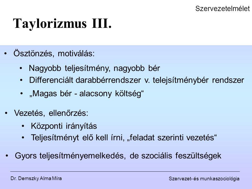 Dr. Demszky Alma Míra Szervezet- és munkaszociológia Szervezetelmélet Taylorizmus III. Ösztönzés, motiválás: Nagyobb teljesítmény, nagyobb bér Differe