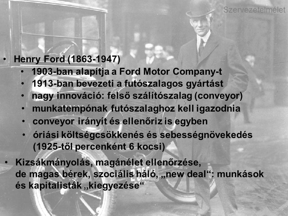 Dr. Demszky Alma Míra Szervezet- és munkaszociológia Szervezetelmélet Henry Ford (1863-1947) 1903-ban alapítja a Ford Motor Company-t 1913-ban bevezet