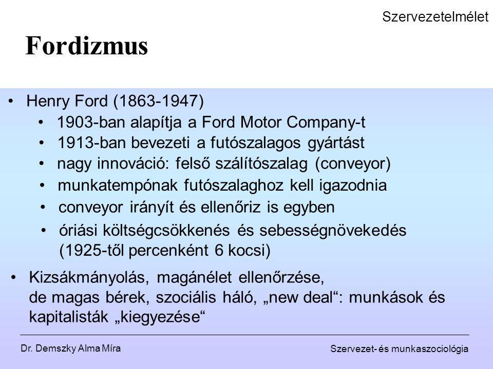 Dr. Demszky Alma Míra Szervezet- és munkaszociológia Szervezetelmélet Fordizmus Henry Ford (1863-1947) 1903-ban alapítja a Ford Motor Company-t 1913-b