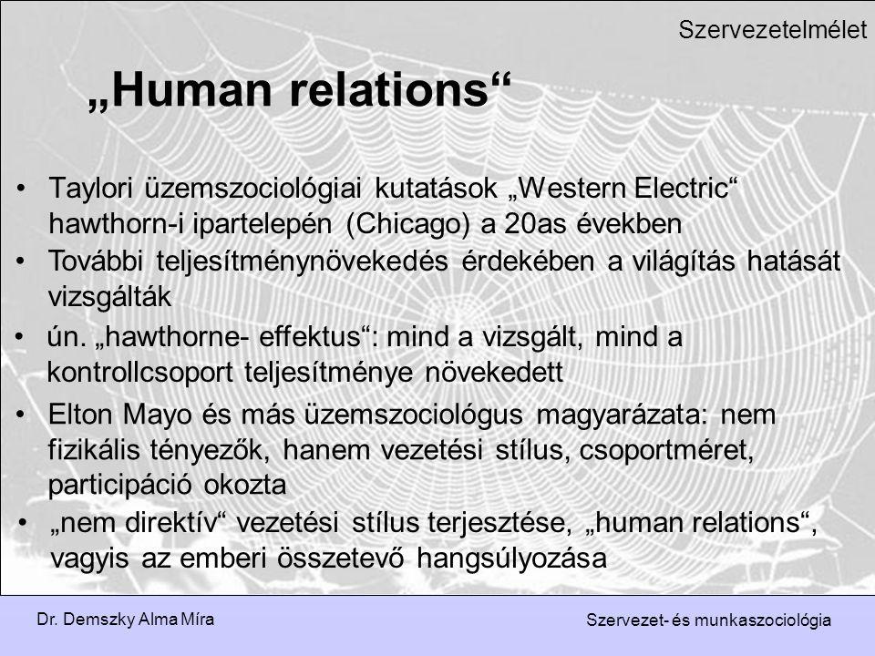 """Dr. Demszky Alma Míra Szervezet- és munkaszociológia Szervezetelmélet Taylori üzemszociológiai kutatások """"Western Electric"""" hawthorn-i ipartelepén (Ch"""