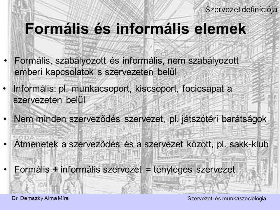 Dr. Demszky Alma Míra Szervezet- és munkaszociológia Szervezet definíciója Formális, szabályozott és informális, nem szabályozott emberi kapcsolatok s