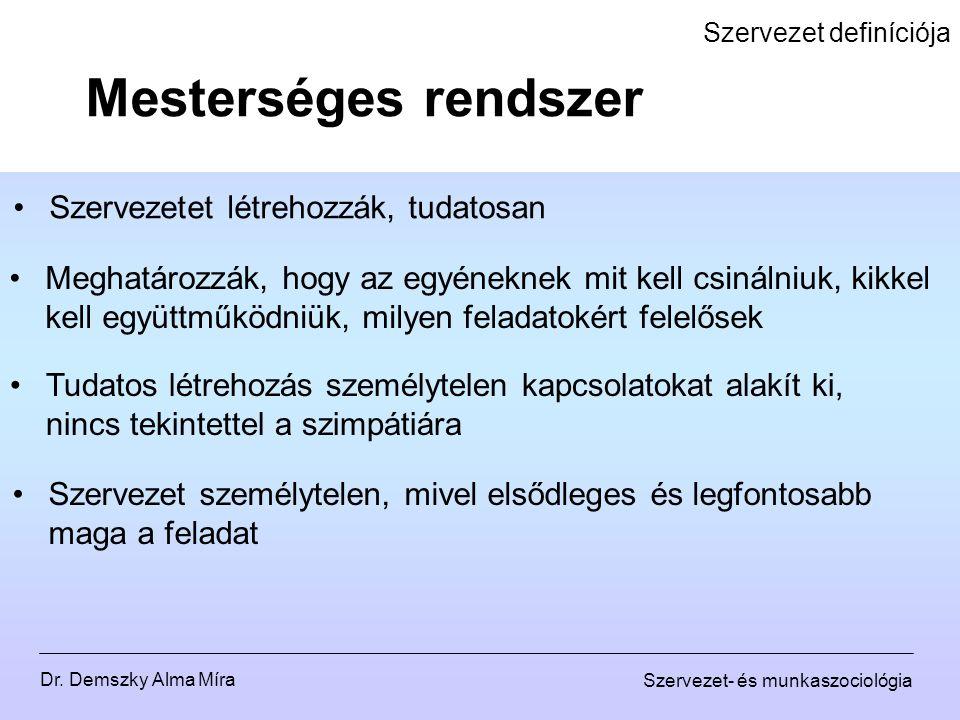 Dr. Demszky Alma Míra Szervezet- és munkaszociológia Szervezet definíciója Szervezetet létrehozzák, tudatosan Mesterséges rendszer Tudatos létrehozás