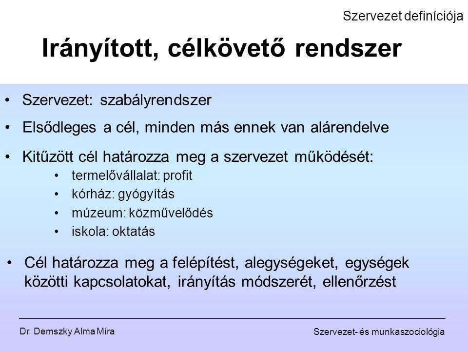 Dr. Demszky Alma Míra Szervezet- és munkaszociológia Szervezet definíciója Szervezet: szabályrendszer Irányított, célkövető rendszer Kitűzött cél hatá