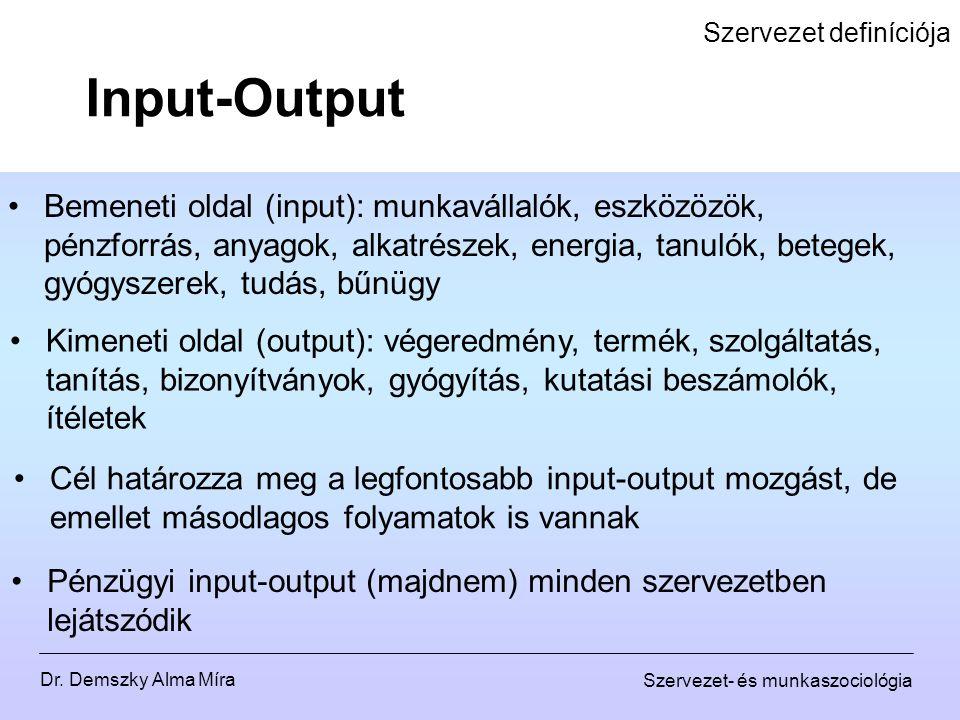 Dr. Demszky Alma Míra Szervezet- és munkaszociológia Szervezet definíciója Bemeneti oldal (input): munkavállalók, eszközözök, pénzforrás, anyagok, alk