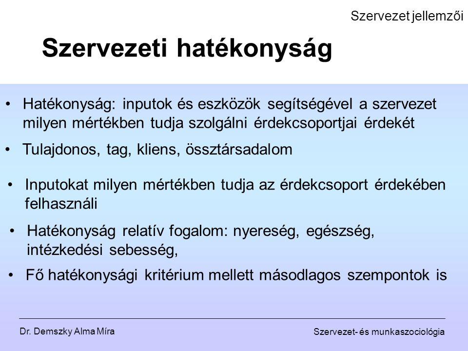 Dr. Demszky Alma Míra Szervezet- és munkaszociológia Szervezet jellemzői Hatékonyság: inputok és eszközök segítségével a szervezet milyen mértékben tu