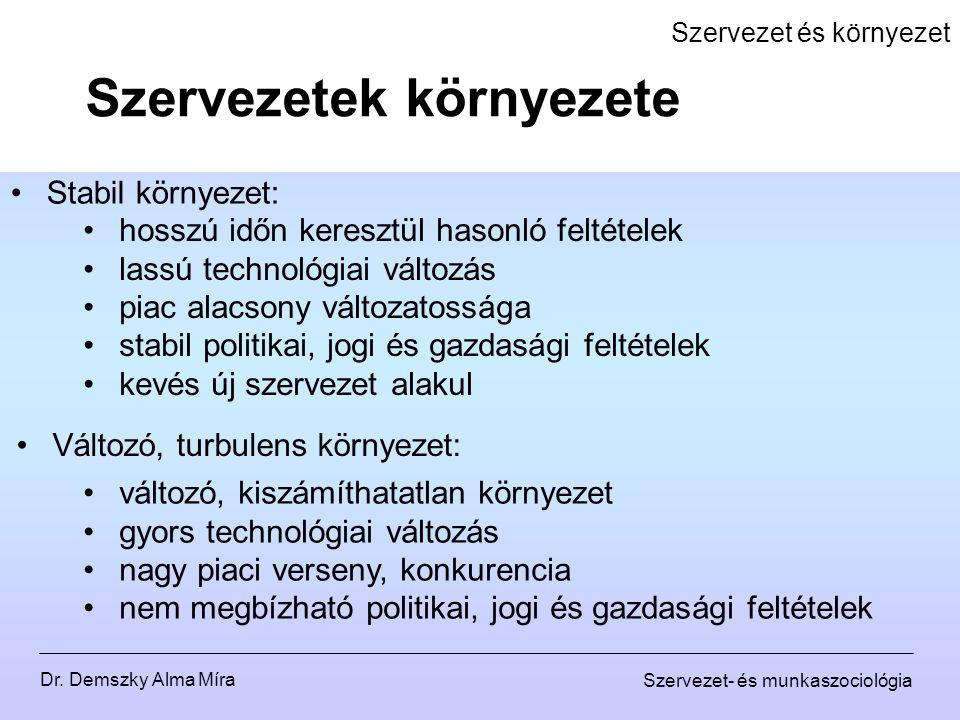 Dr. Demszky Alma Míra Szervezet- és munkaszociológia Szervezet és környezet Stabil környezet: Szervezetek környezete hosszú időn keresztül hasonló fel