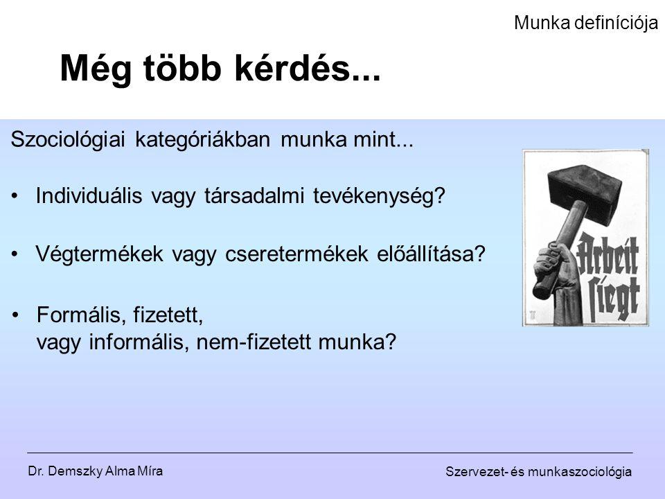 Dr. Demszky Alma Míra Szervezet- és munkaszociológia Munka definíciója Még több kérdés... Szociológiai kategóriákban munka mint... Individuális vagy t