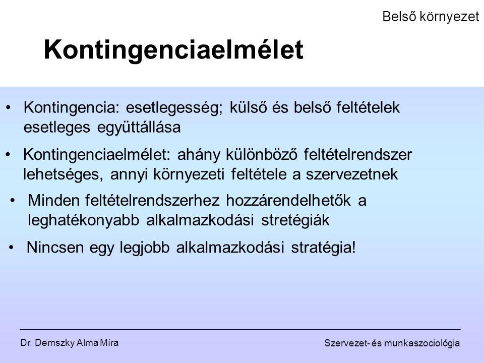 Dr. Demszky Alma Míra Szervezet- és munkaszociológia Belső környezet Kontingencia: esetlegesség; külső és belső feltételek esetleges együttállása Kont