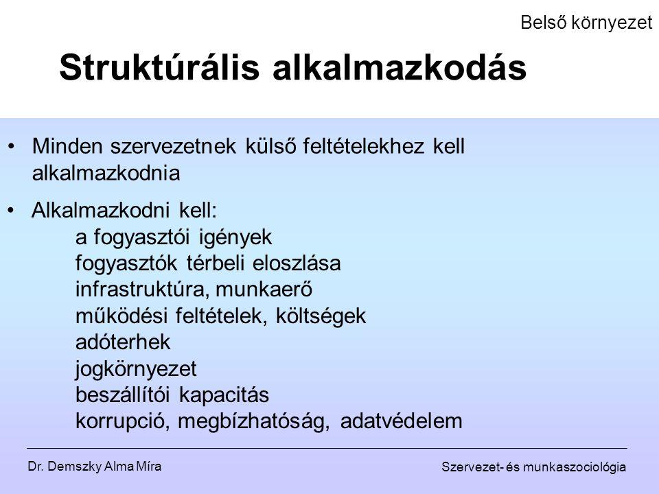 Dr. Demszky Alma Míra Szervezet- és munkaszociológia Belső környezet Minden szervezetnek külső feltételekhez kell alkalmazkodnia Struktúrális alkalmaz