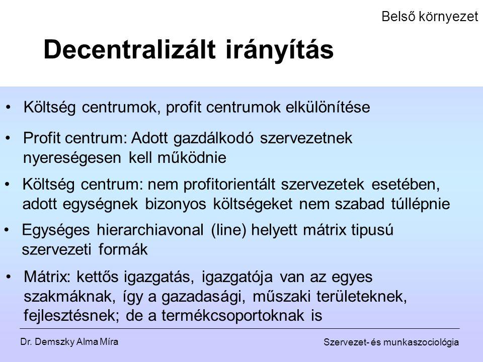 Dr. Demszky Alma Míra Szervezet- és munkaszociológia Belső környezet Költség centrumok, profit centrumok elkülönítése Decentralizált irányítás Profit