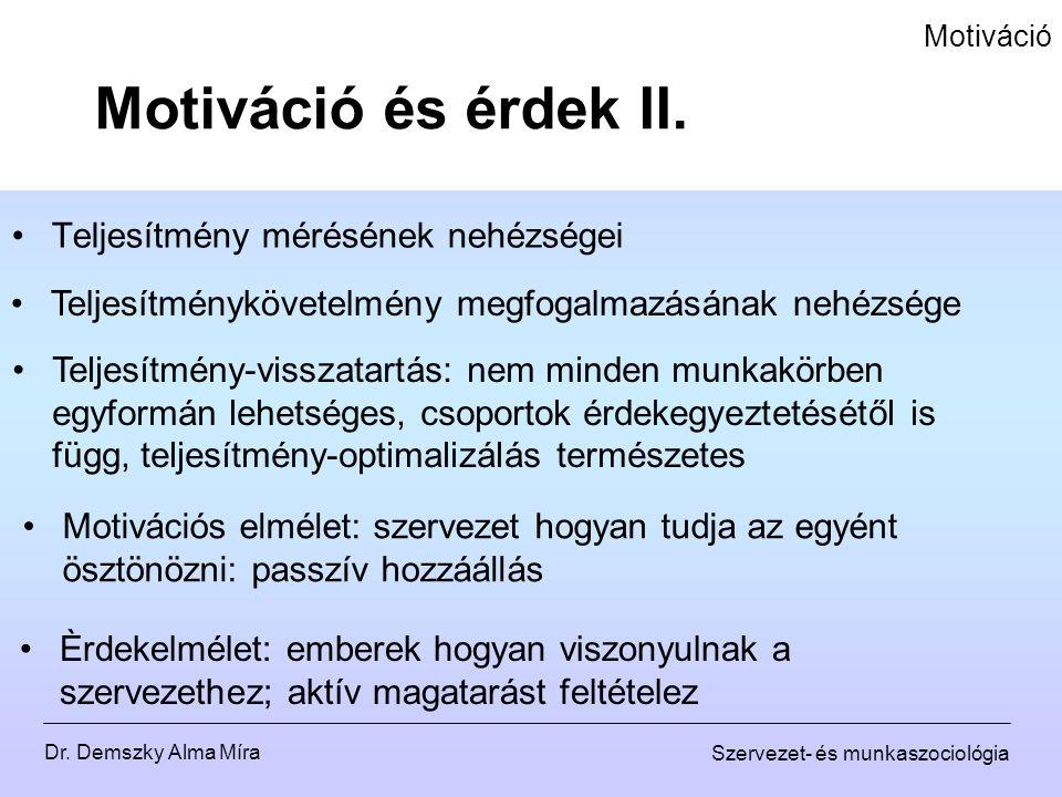 Dr. Demszky Alma Míra Szervezet- és munkaszociológia Motiváció Teljesítmény mérésének nehézségei Motiváció és érdek II. Teljesítménykövetelmény megfog