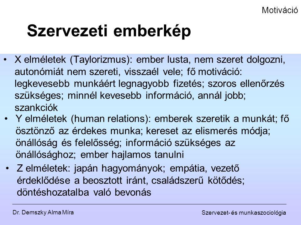 Dr. Demszky Alma Míra Szervezet- és munkaszociológia Motiváció X elméletek (Taylorizmus): ember lusta, nem szeret dolgozni, autonómiát nem szereti, vi