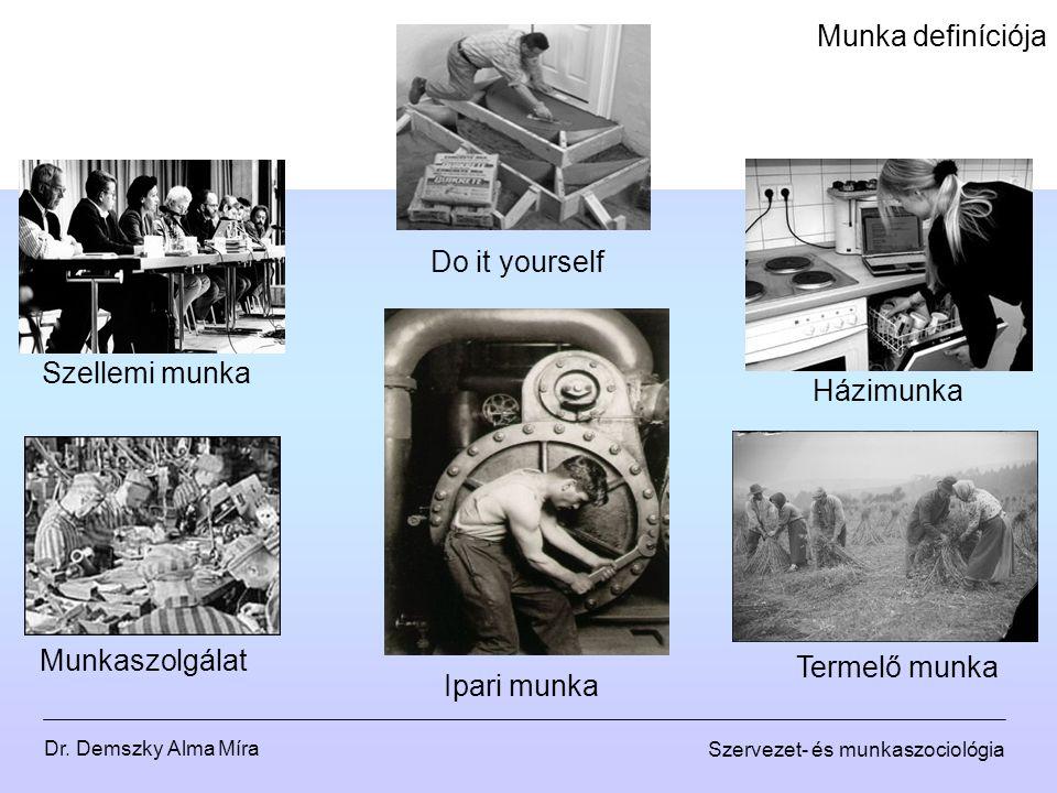Dr. Demszky Alma Míra Szervezet- és munkaszociológia Munka definíciója Házimunka Szellemi munka Munkaszolgálat Do it yourself Ipari munka Termelő munk