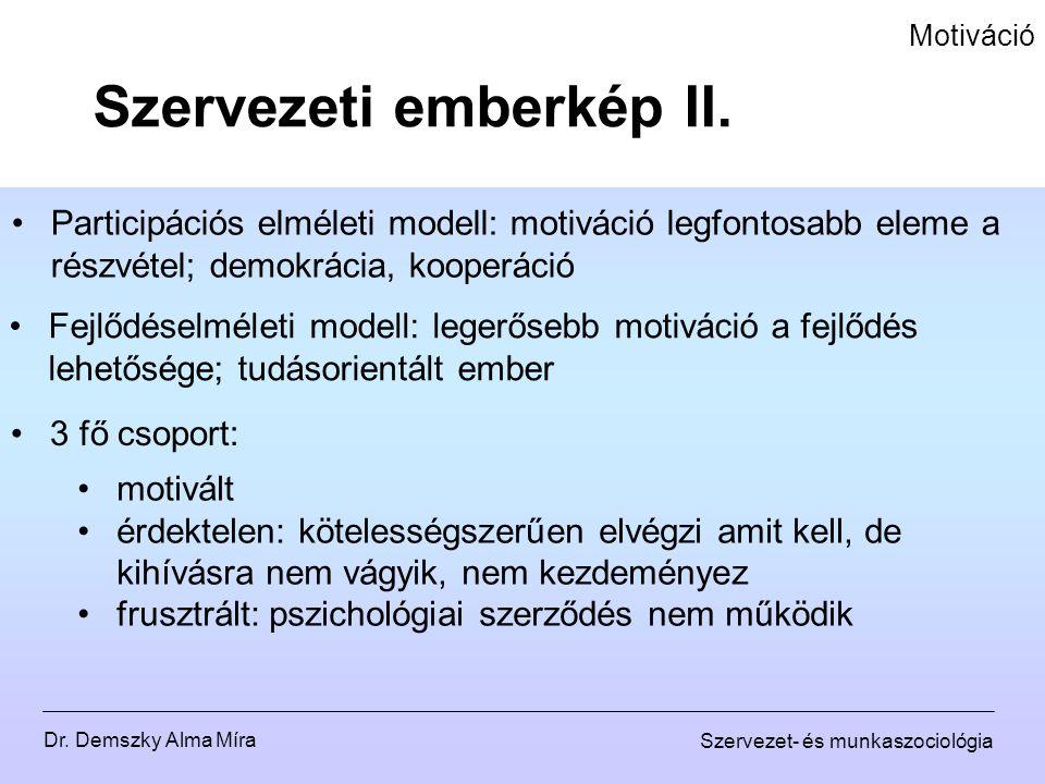 Dr. Demszky Alma Míra Szervezet- és munkaszociológia Motiváció Participációs elméleti modell: motiváció legfontosabb eleme a részvétel; demokrácia, ko