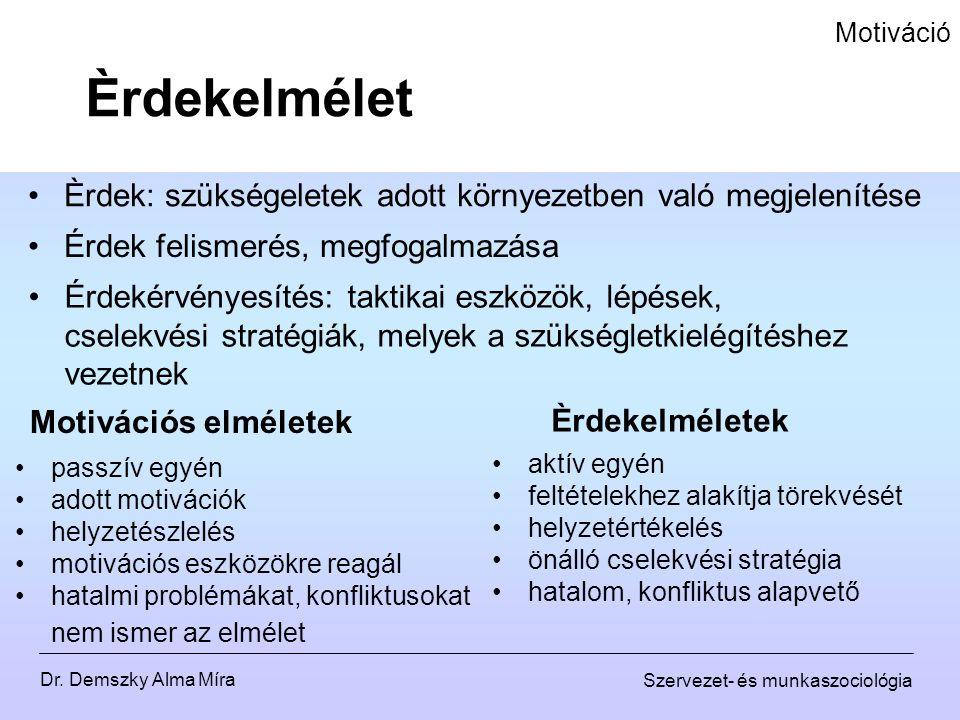 Dr. Demszky Alma Míra Szervezet- és munkaszociológia Motiváció Èrdek: szükségeletek adott környezetben való megjelenítése Èrdekelmélet Érdekérvényesít