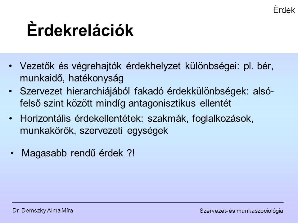 Dr. Demszky Alma Míra Szervezet- és munkaszociológia Èrdek Vezetők és végrehajtók érdekhelyzet különbségei: pl. bér, munkaidő, hatékonyság Èrdekreláci
