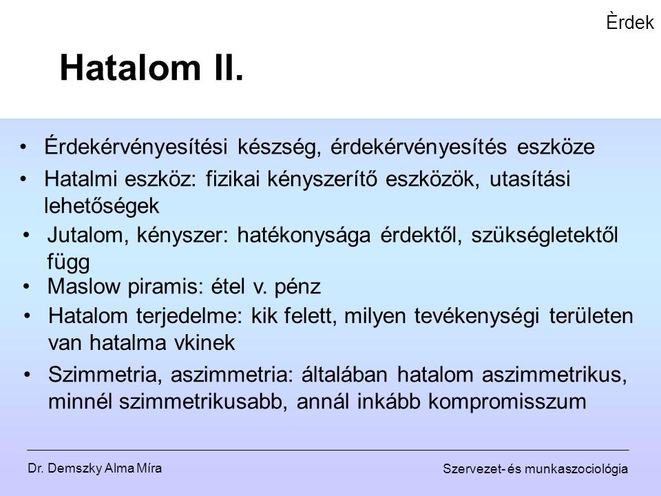 Dr. Demszky Alma Míra Szervezet- és munkaszociológia Èrdek Érdekérvényesítési készség, érdekérvényesítés eszköze Hatalom II. Hatalmi eszköz: fizikai k