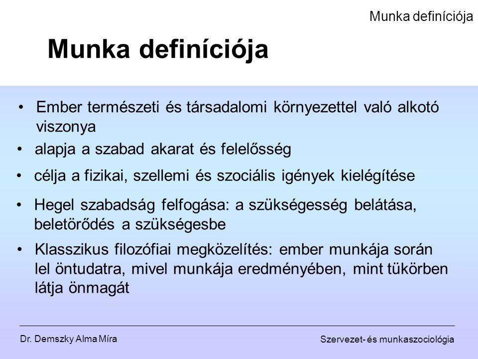 Dr. Demszky Alma Míra Szervezet- és munkaszociológia Munka definíciója Ember természeti és társadalomi környezettel való alkotó viszonya alapja a szab