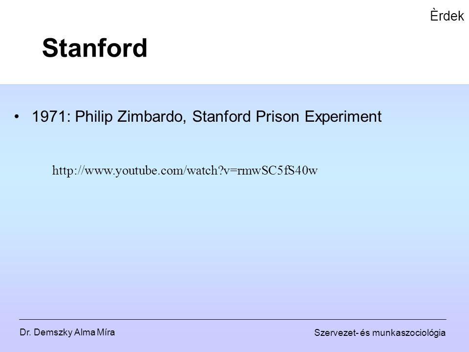 Dr. Demszky Alma Míra Szervezet- és munkaszociológia Èrdek 1971: Philip Zimbardo, Stanford Prison Experiment Stanford http://www.youtube.com/watch?v=r