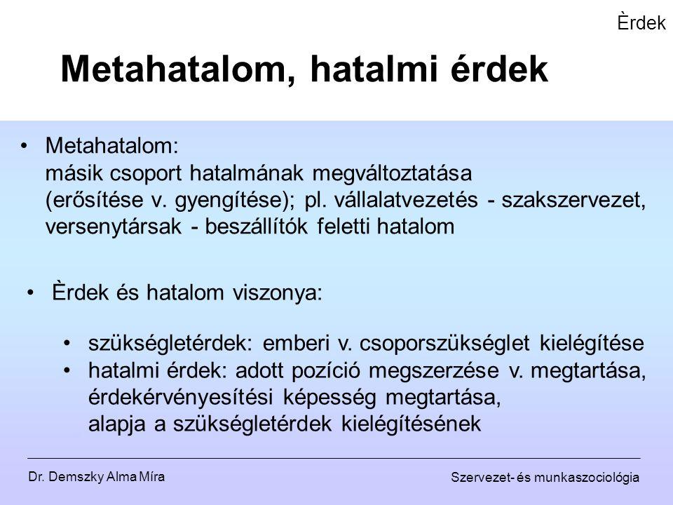 Dr. Demszky Alma Míra Szervezet- és munkaszociológia Èrdek Metahatalom: másik csoport hatalmának megváltoztatása (erősítése v. gyengítése); pl. vállal