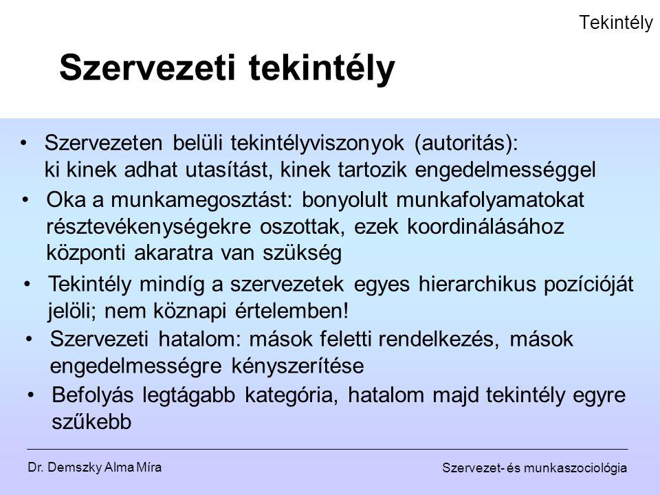 Dr. Demszky Alma Míra Szervezet- és munkaszociológia Tekintély Szervezeten belüli tekintélyviszonyok (autoritás): ki kinek adhat utasítást, kinek tart