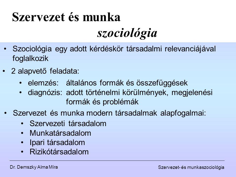 Dr. Demszky Alma Míra Szervezet- és munkaszociológia Szervezet és munka szociológia Szociológia egy adott kérdéskör társadalmi relevanciájával foglalk