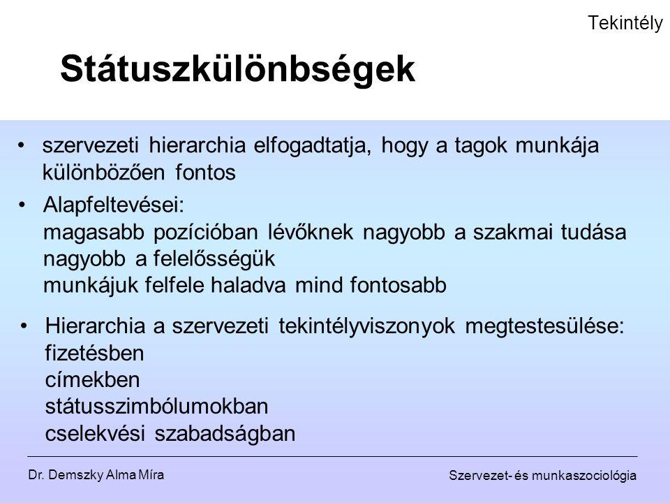 Dr. Demszky Alma Míra Szervezet- és munkaszociológia Tekintély Státuszkülönbségek szervezeti hierarchia elfogadtatja, hogy a tagok munkája különbözően