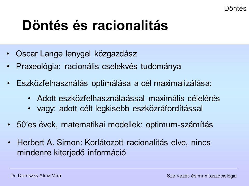 Dr. Demszky Alma Míra Szervezet- és munkaszociológia Döntés Döntés és racionalitás Oscar Lange lenygel közgazdász Praxeológia: racionális cselekvés tu