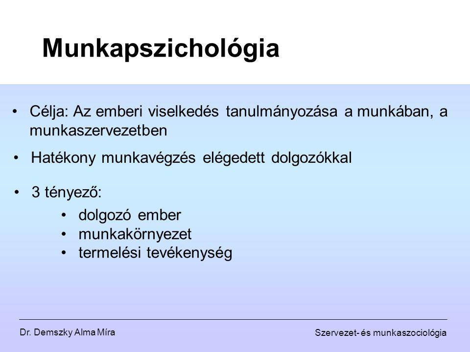 Dr. Demszky Alma Míra Szervezet- és munkaszociológia Munkapszichológia Célja: Az emberi viselkedés tanulmányozása a munkában, a munkaszervezetben Haté