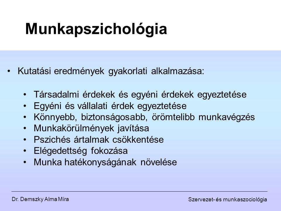 Dr. Demszky Alma Míra Szervezet- és munkaszociológia Munkapszichológia Kutatási eredmények gyakorlati alkalmazása: Társadalmi érdekek és egyéni érdeke