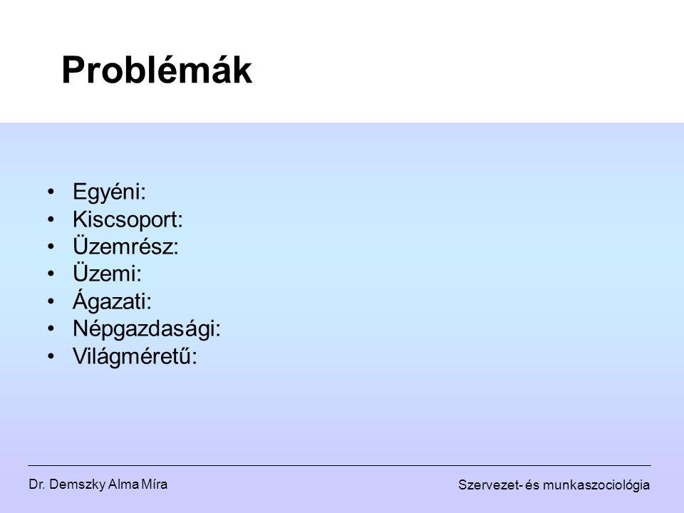 Dr. Demszky Alma Míra Szervezet- és munkaszociológia Problémák Egyéni: Kiscsoport: Üzemrész: Üzemi: Ágazati: Népgazdasági: Világméretű: