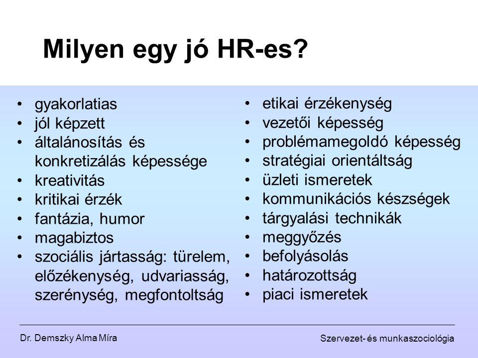 Dr. Demszky Alma Míra Szervezet- és munkaszociológia Milyen egy jó HR-es? gyakorlatias jól képzett általánosítás és konkretizálás képessége kreativitá