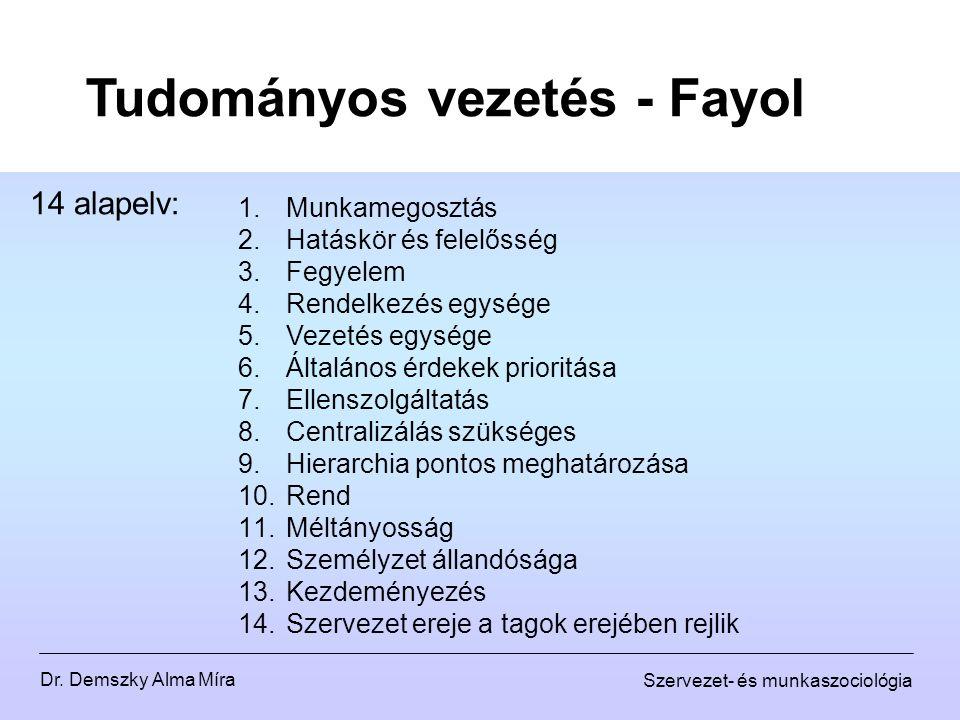 Dr. Demszky Alma Míra Szervezet- és munkaszociológia Tudományos vezetés - Fayol 14 alapelv: 1.Munkamegosztás 2.Hatáskör és felelősség 3.Fegyelem 4.Ren