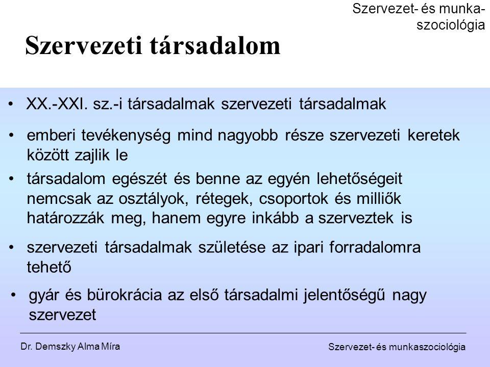 Dr.Demszky Alma Míra Szervezet- és munkaszociológia Szervezetelmélet XIX.
