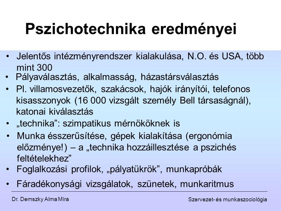 Dr. Demszky Alma Míra Szervezet- és munkaszociológia Pszichotechnika eredményei Jelentős intézményrendszer kialakulása, N.O. és USA, több mint 300 Pl.