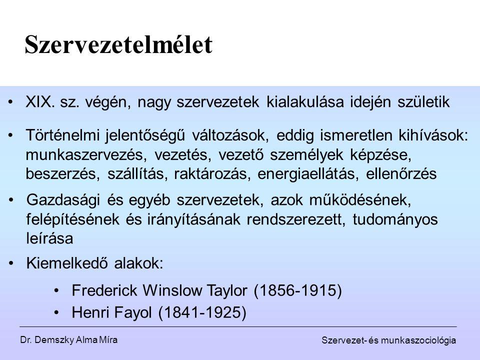 Dr. Demszky Alma Míra Szervezet- és munkaszociológia Szervezetelmélet XIX. sz. végén, nagy szervezetek kialakulása idején születik Frederick Winslow T