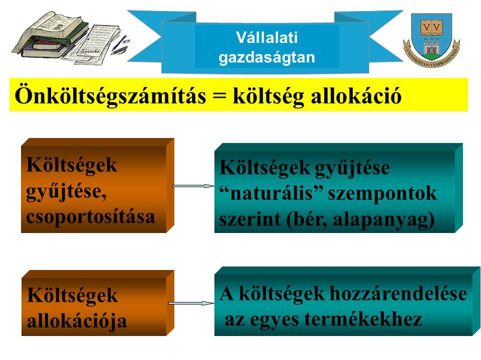 Vállalati gazdaságtan Önköltségszámítás = költség allokáció Költségek gyűjtése, csoportosítása Költségek gyűjtése naturális szempontok szerint (bér, alapanyag) Költségek allokációja A költségek hozzárendelése az egyes termékekhez