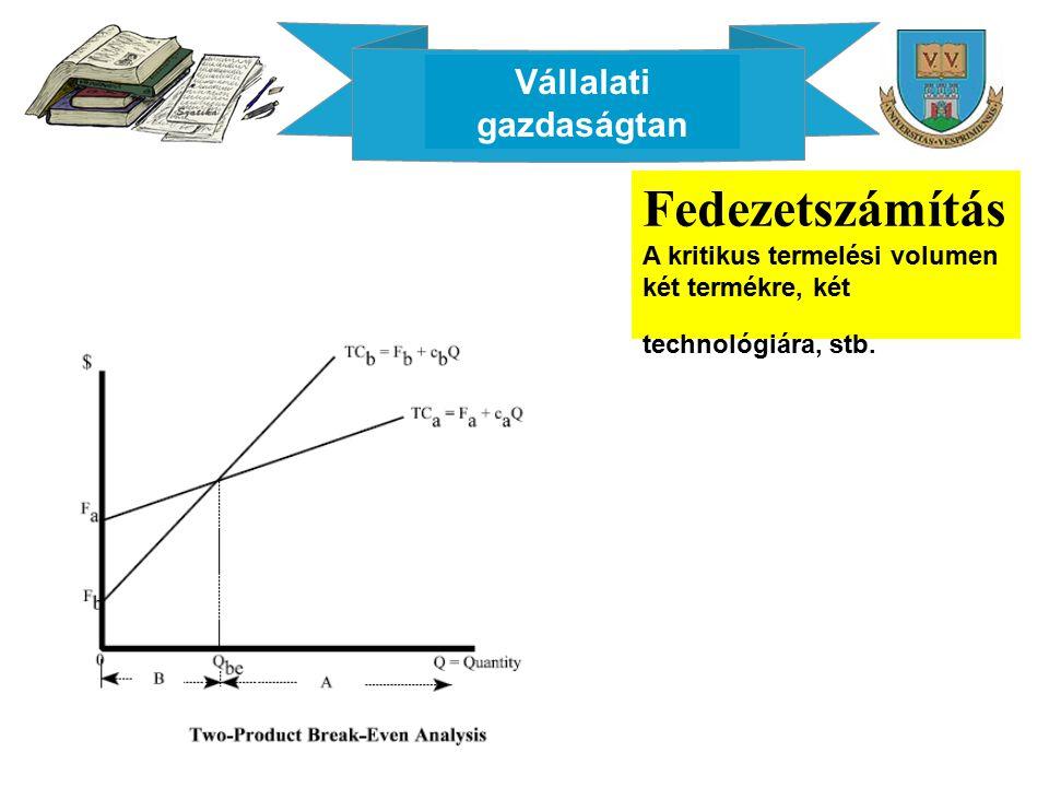 Vállalati gazdaságtan Fedezetszámítás A kritikus termelési volumen két termékre, két technológiára, stb.