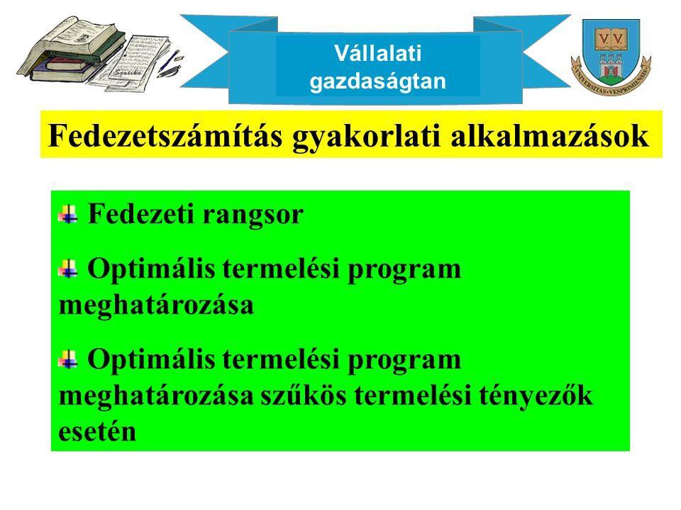 Vállalati gazdaságtan Fedezetszámítás gyakorlati alkalmazások Fedezeti rangsor Optimális termelési program meghatározása Optimális termelési program meghatározása szűkös termelési tényezők esetén