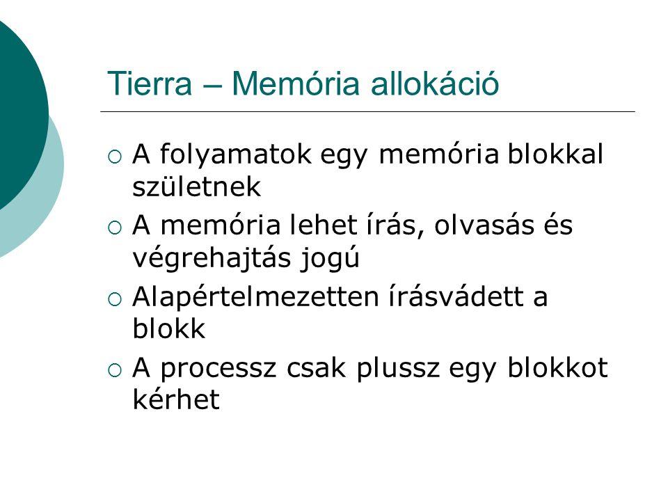 Tierra – Memória allokáció  A memória allokáció kapcsolatban áll a Reaper-rel  Ha egy memória kérés nem teljesíthető, mert nincs szabad hely, a Reaper megöl annyi folyamatot, hogy legyen hely  A memória kérés limitált méretre lehetséges